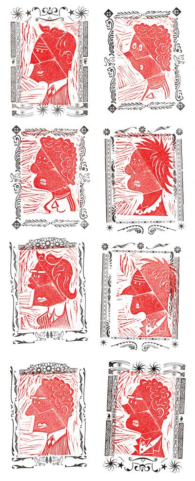 huit portraits en linogravure cadres vignettes typo
